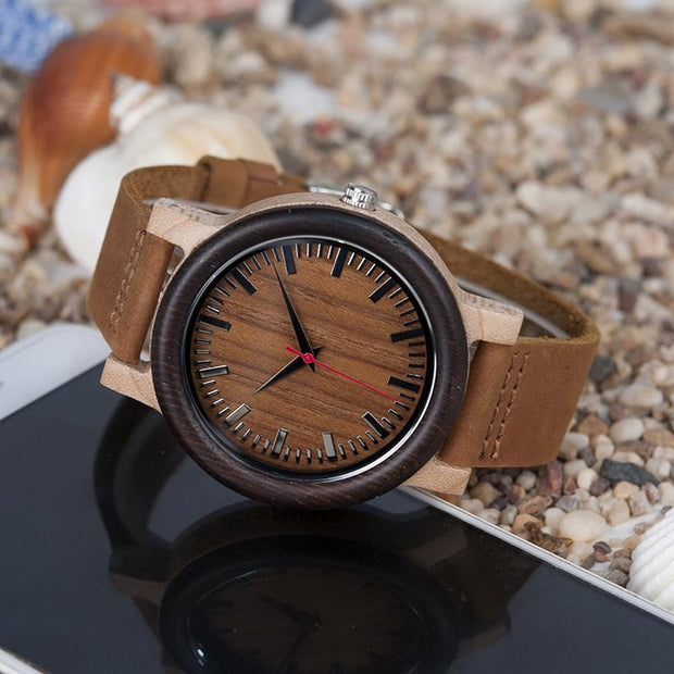 Ebony Wood & Leather Watch