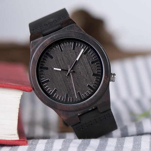 Ebony & Soft Leather Watch with Dark face plate