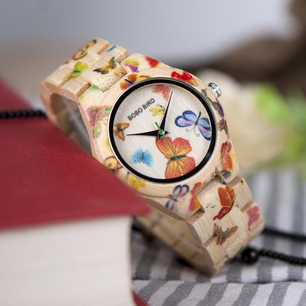 Colorful Butterflies Wooden Watch