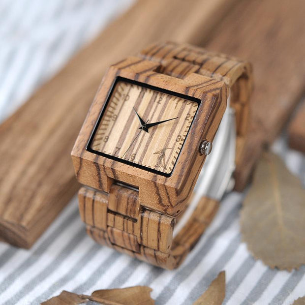 Zebra Square Wooden Watch