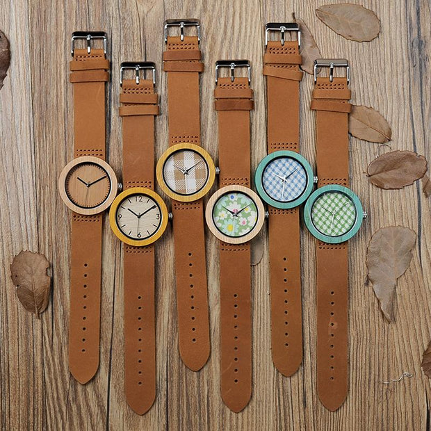 Wooden Yellow & Brown Watch (Squares Face plate)