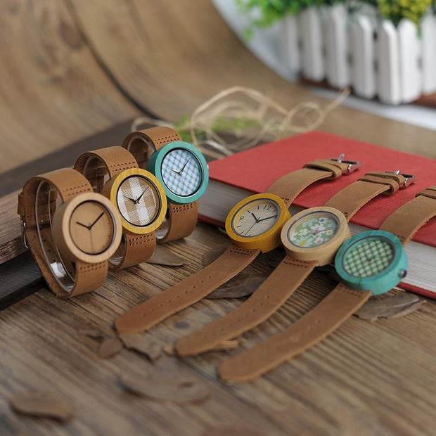 Wooden Brown Watch (Flower Face plate)