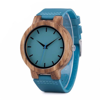 Wood & Blue Leather Watch