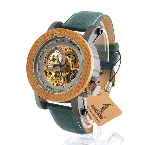 PREMIUM Plus Wood & Leather Watch (Teal)