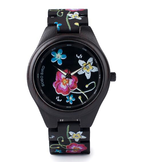 Dark Flower Wooden Watch