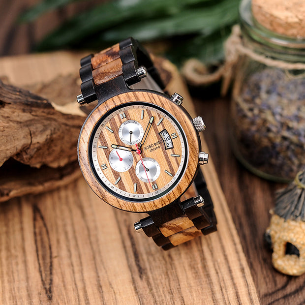 Two-Tone Chronograph & Date Wooden Watch