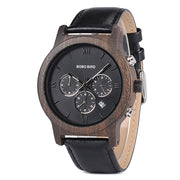 Classy Chronograph & Date Wood & Leather Watch (Dark)
