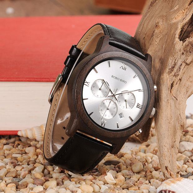 Classy Chronograph & Date Wood & Leather Watch