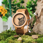 Fox Wood & Brown Leather Watch