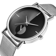 Mesh Watch with Mirror-effect faceplate - Silver/Black