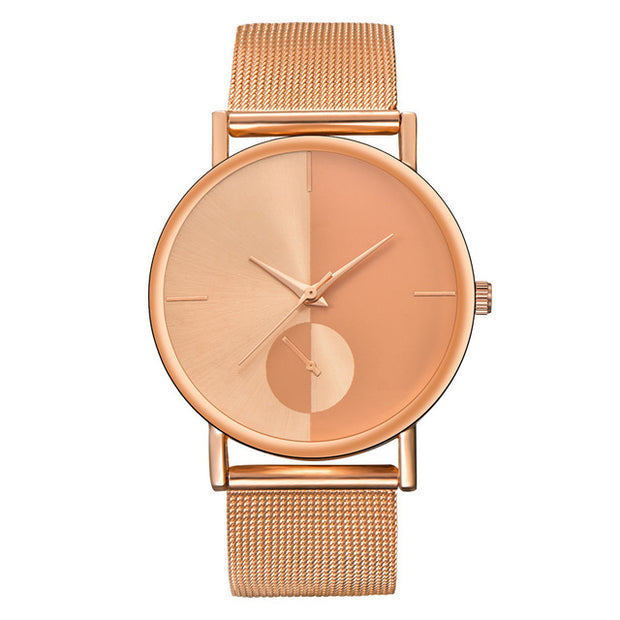 Mesh Watch with Mirror-effect faceplate - Rose Gold