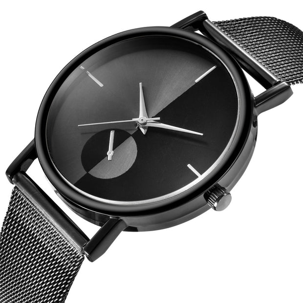 Mesh Watch with Mirror-effect faceplate - Black