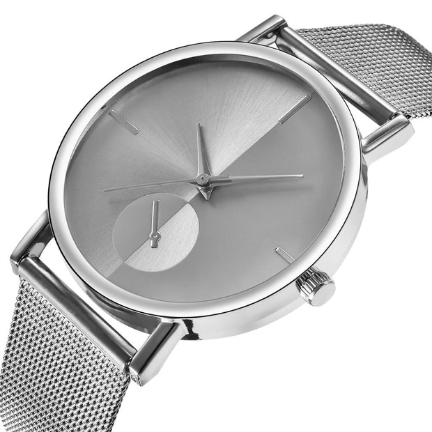 Mesh Watch with Mirror-effect faceplate - Silver