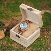 Chronograph & Date Wooden Watch