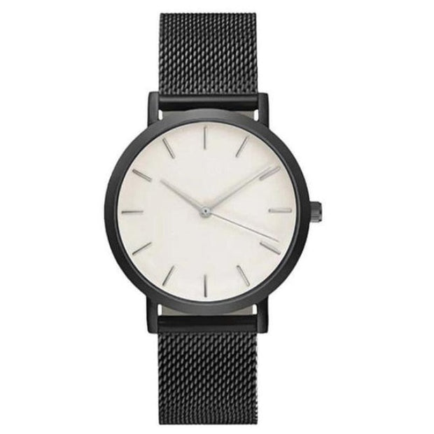 Trendy Mesh Watch - Black / White faceplate