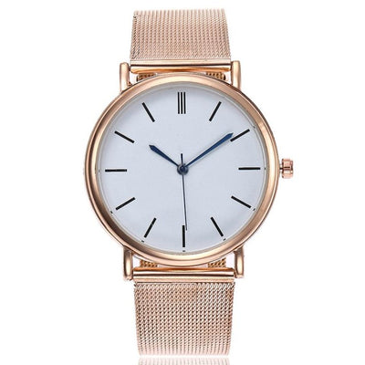 Trendy Mesh Watch - Rose Gold (Blue pointers)
