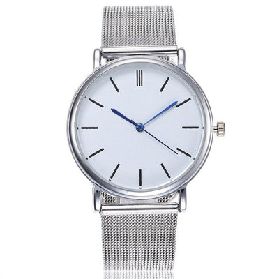 Trendy Mesh Watch - Silver (Blue pointers)