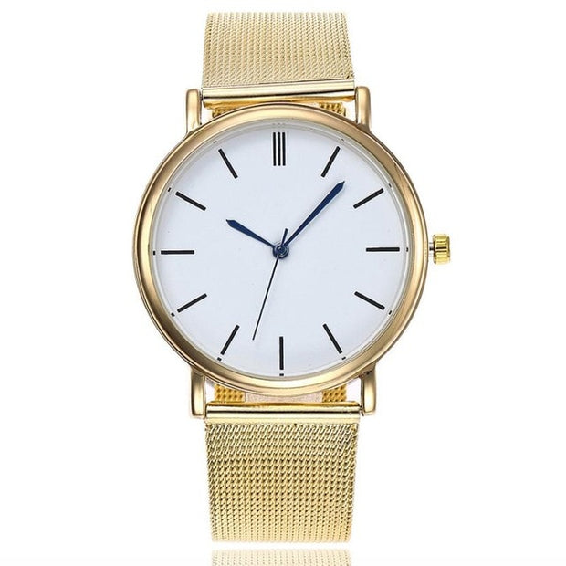 Trendy Mesh Watch - Gold (Blue pointers)