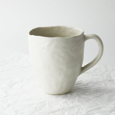 white porcelain coil built Enormous Mug by Nona Kelhfer