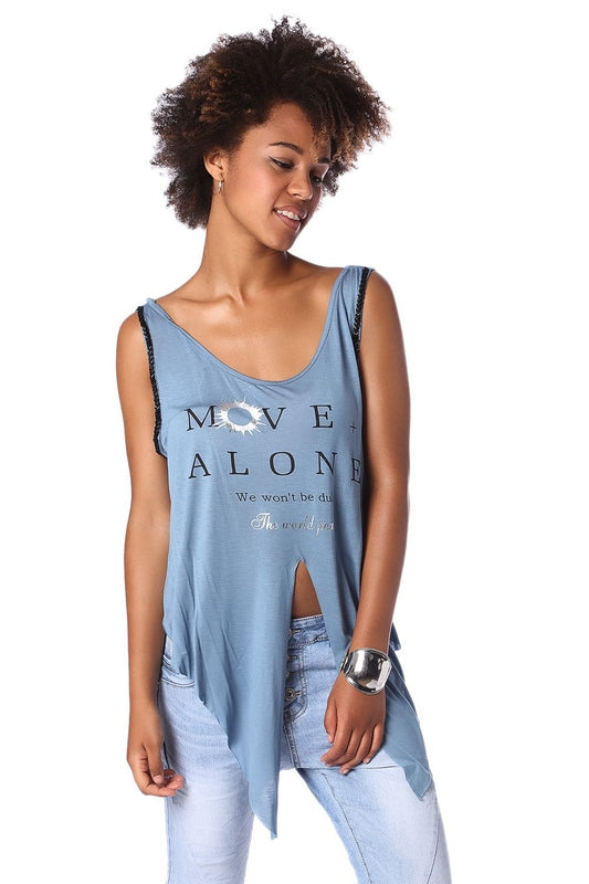 Blue logo tank top with center split