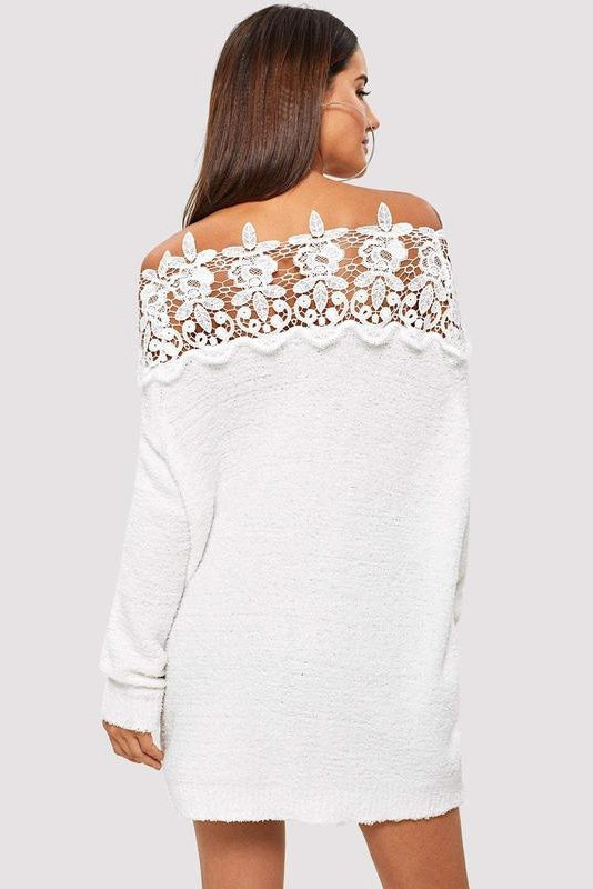 Floral Lace Insert Solid Sweater