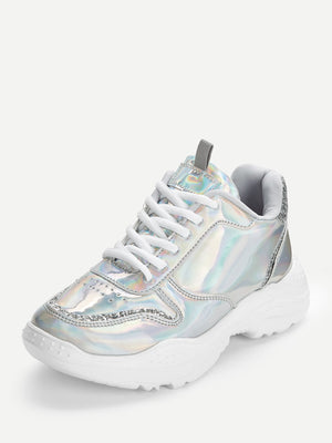 Sequin Detail Lace-up Iridescent Chunky Sneakers