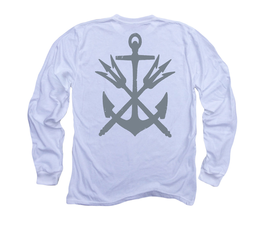Anchor & Tridents ll: Organic Fine Jersey Long Sleeve T-Shirt in White