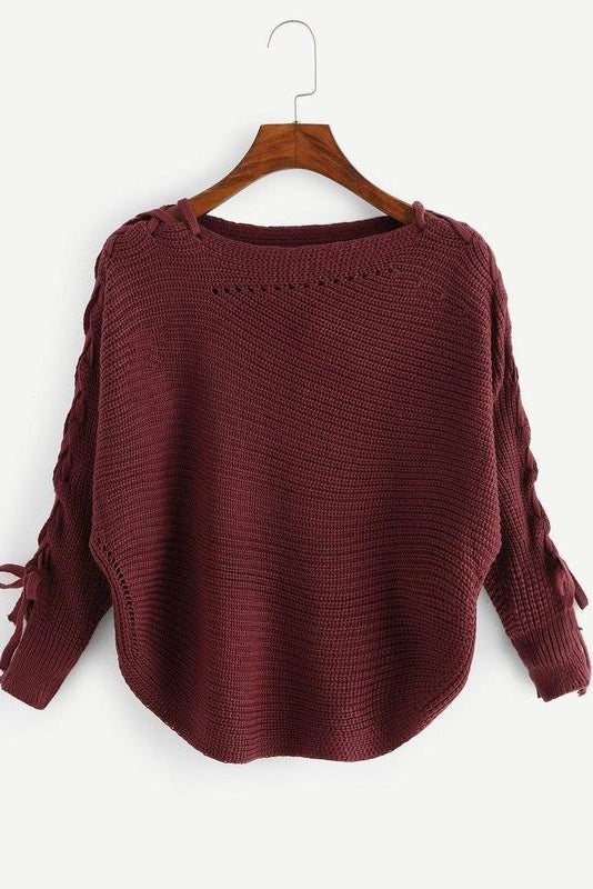 Lace-up Sleeve Solid Jumper
