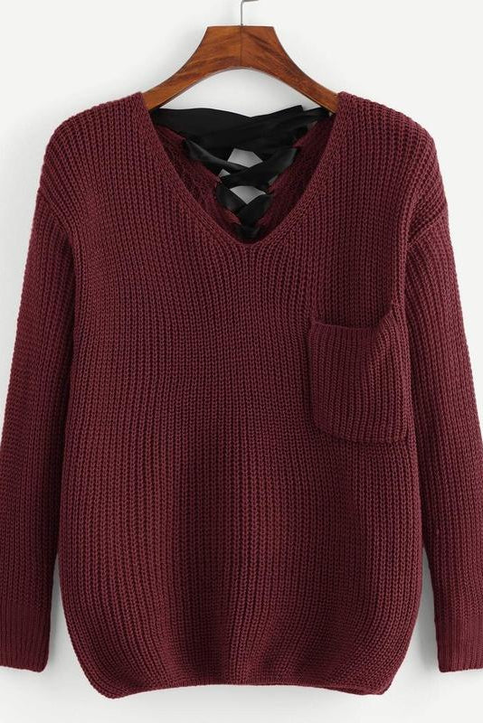 Lace Up Pocket Front Sweater
