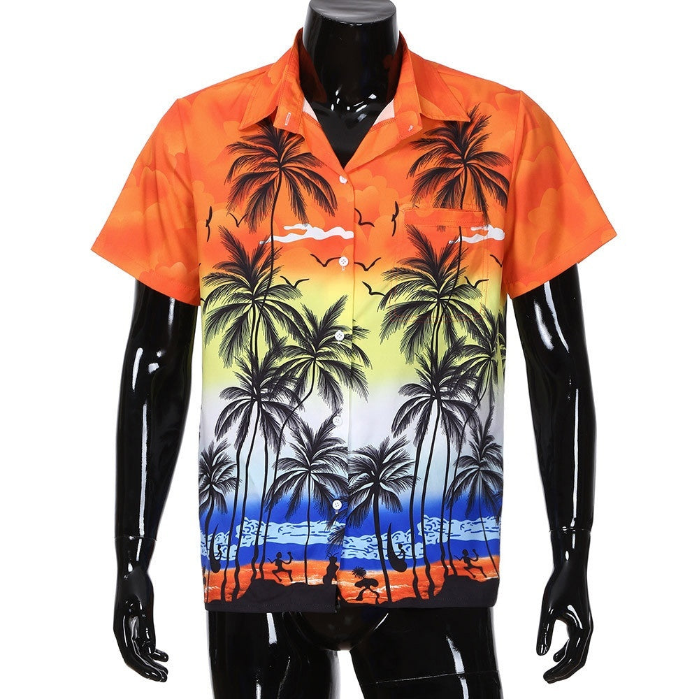 Men Hawaiian Shirt Short Sleeve Front-Pocket Beach Floral Printed Blouse Top Tee