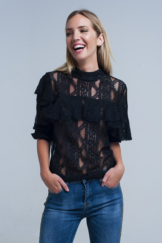 Black lacy shirt and ruffles