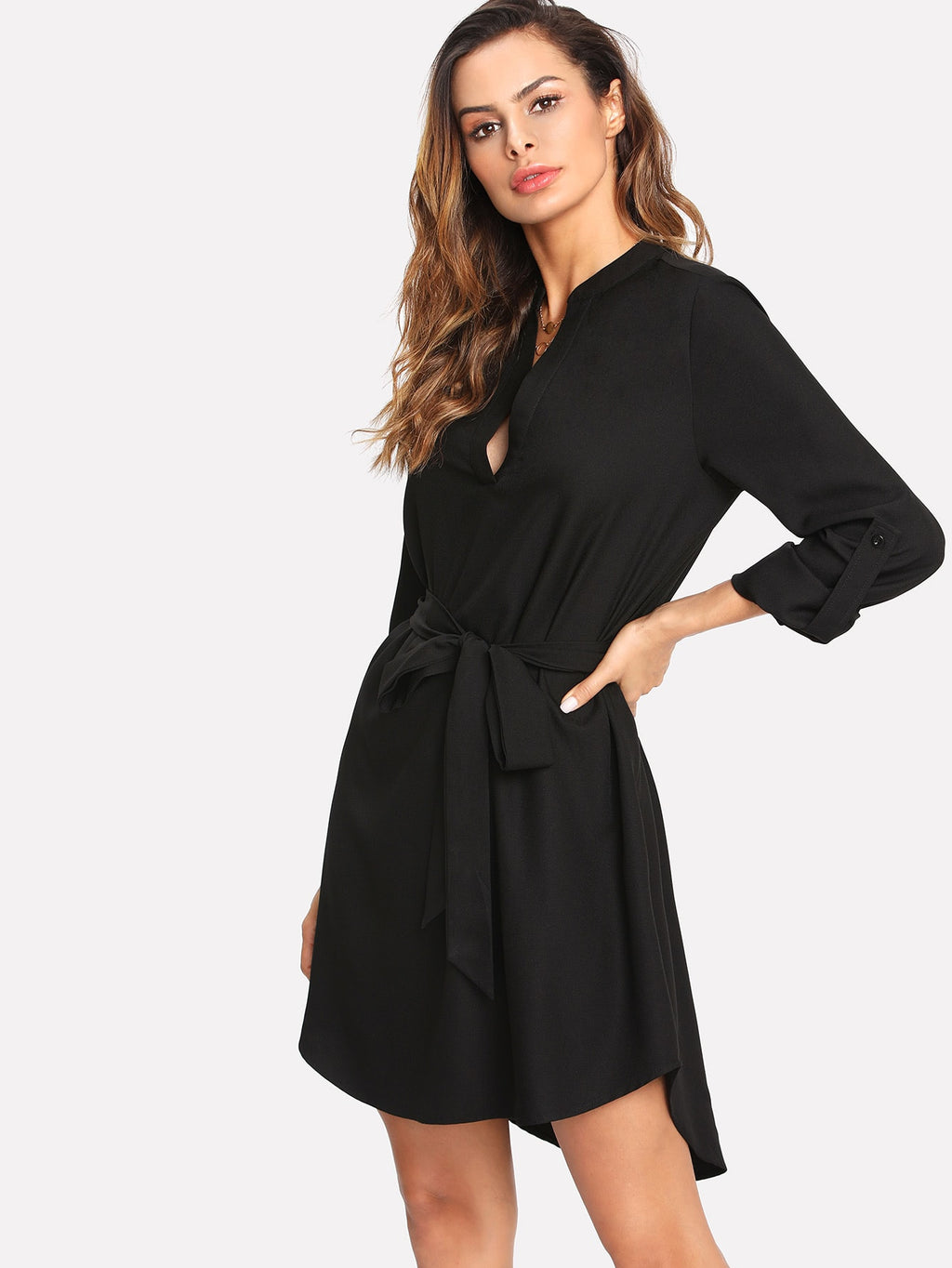 V Neck Belted Curved Dress