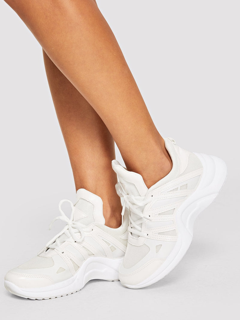 Lace-up Knit Chunky Sole Sneakers