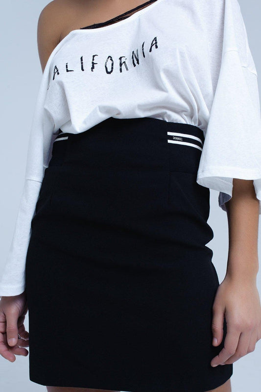 Black skirt with elastic side detail and white stripes