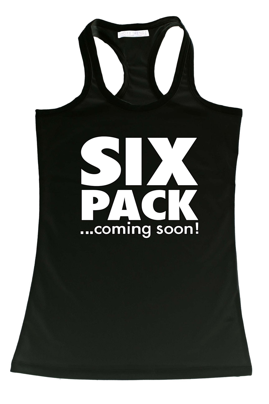 Women's Funny Six Pack ...Coming Soon Workout Racer Back Tank Top