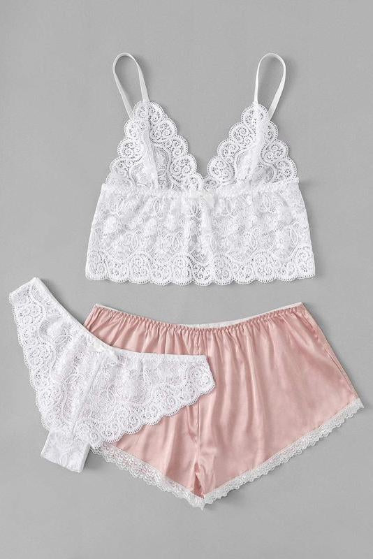 Scalloped Trim Cami Top & Shorts & Panty 3pcs
