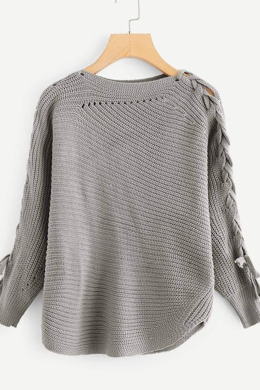 Drawstring Side Knot Sleeve Sweater