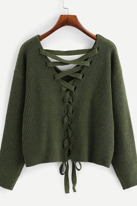 Plus Lace Up Drop Shoulder Sweater