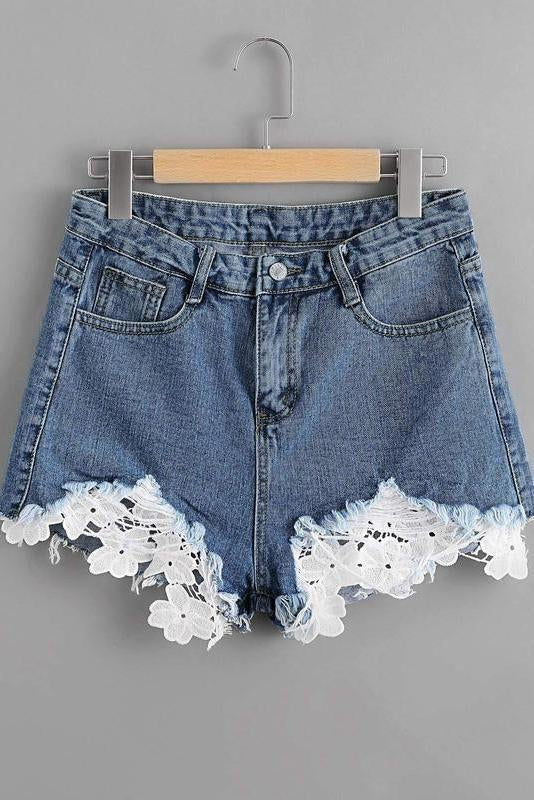 Contrast Lace Frayed Hem Denim Shorts