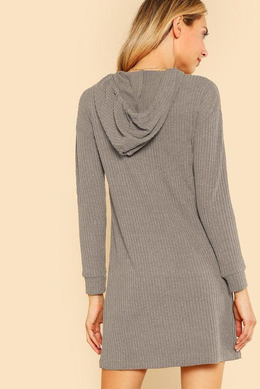Solid Rib Knit Hoodie Sweater Dress