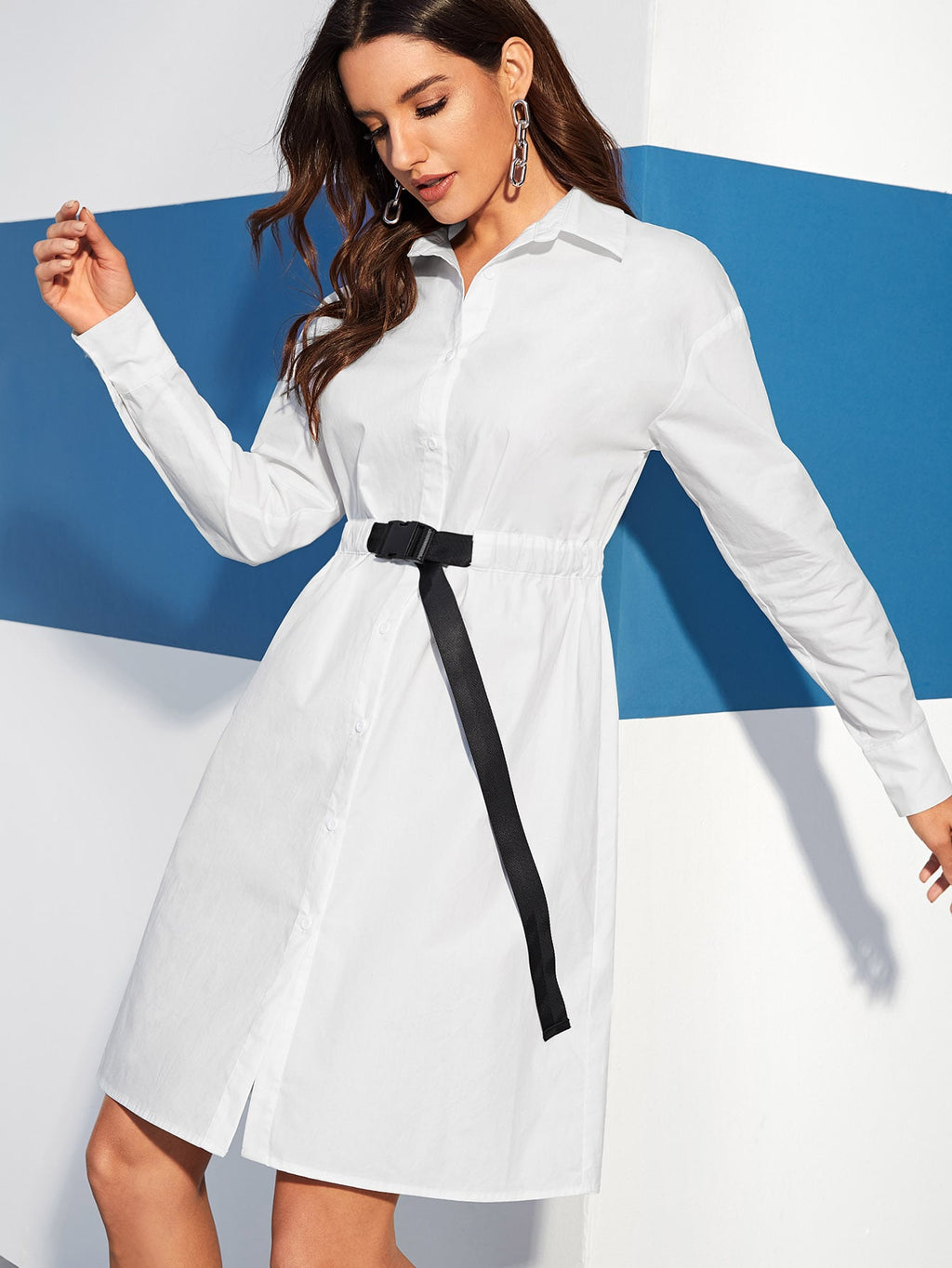 Contrast Buckle Strap Shirt Dress