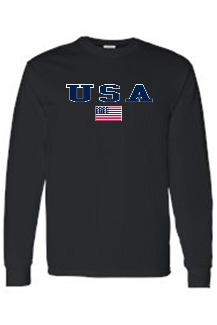 Men's/Unisex U.S.A. Flag Proud To Be An American  Long Sleeve T-shirt