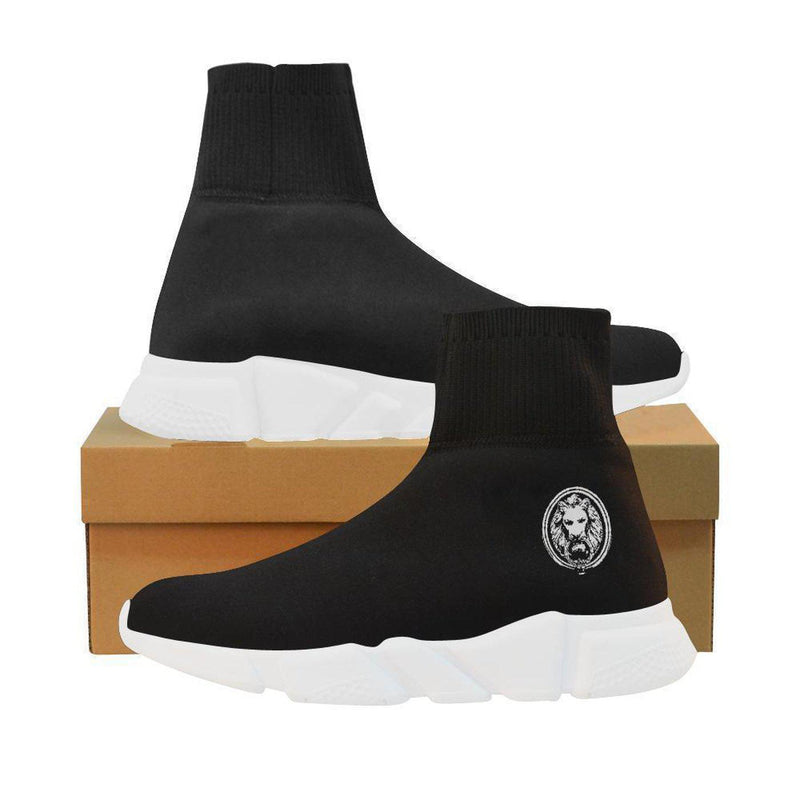 Mens Black Sock Style White Lion Shoes