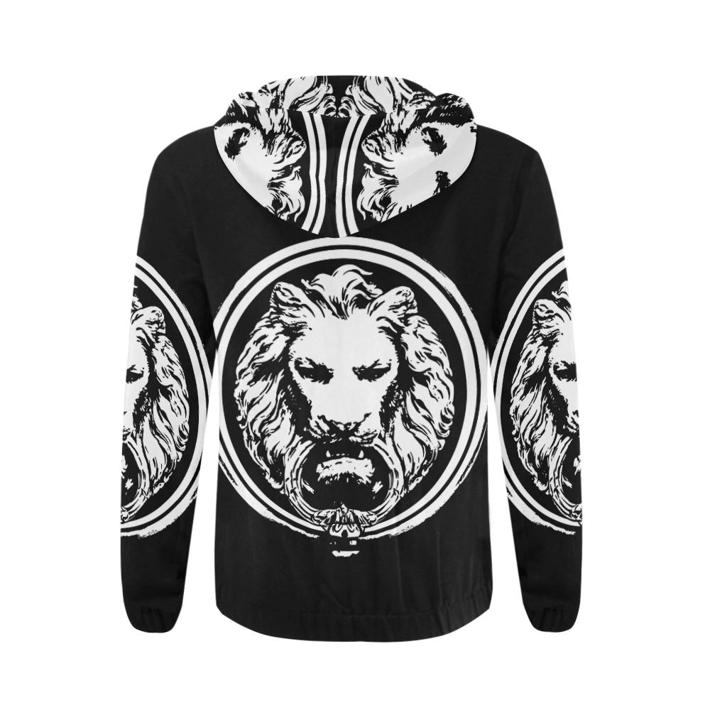 Black and White Lion All Over Mens Zip Hoodie