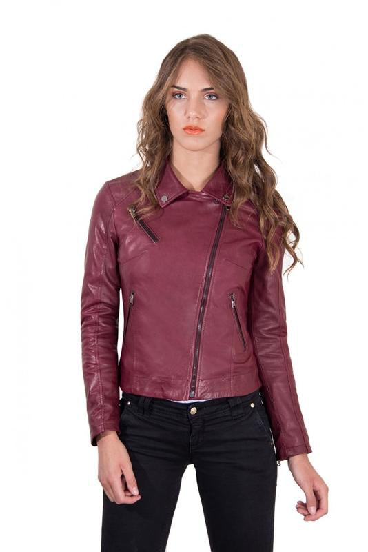 Women's Leather Jacket biker shirt collar cross zip red purple color KBC