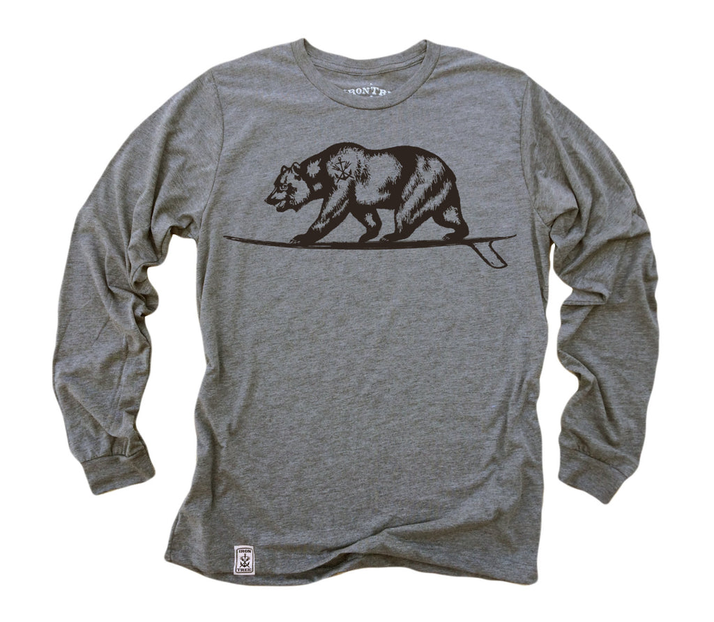 Cali Bear Surfing: Tri-Blend Long Sleeve T-Shirt in Heather Grey