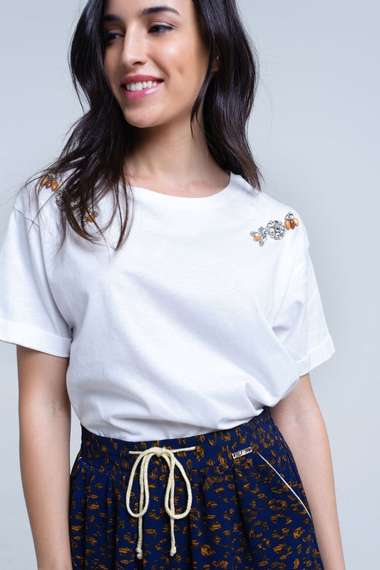 White t-shirt with crystal rhinestones