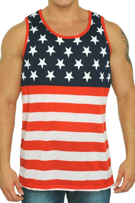 USA Flag Men's Tank Top American Pride Sleeveless Shirt