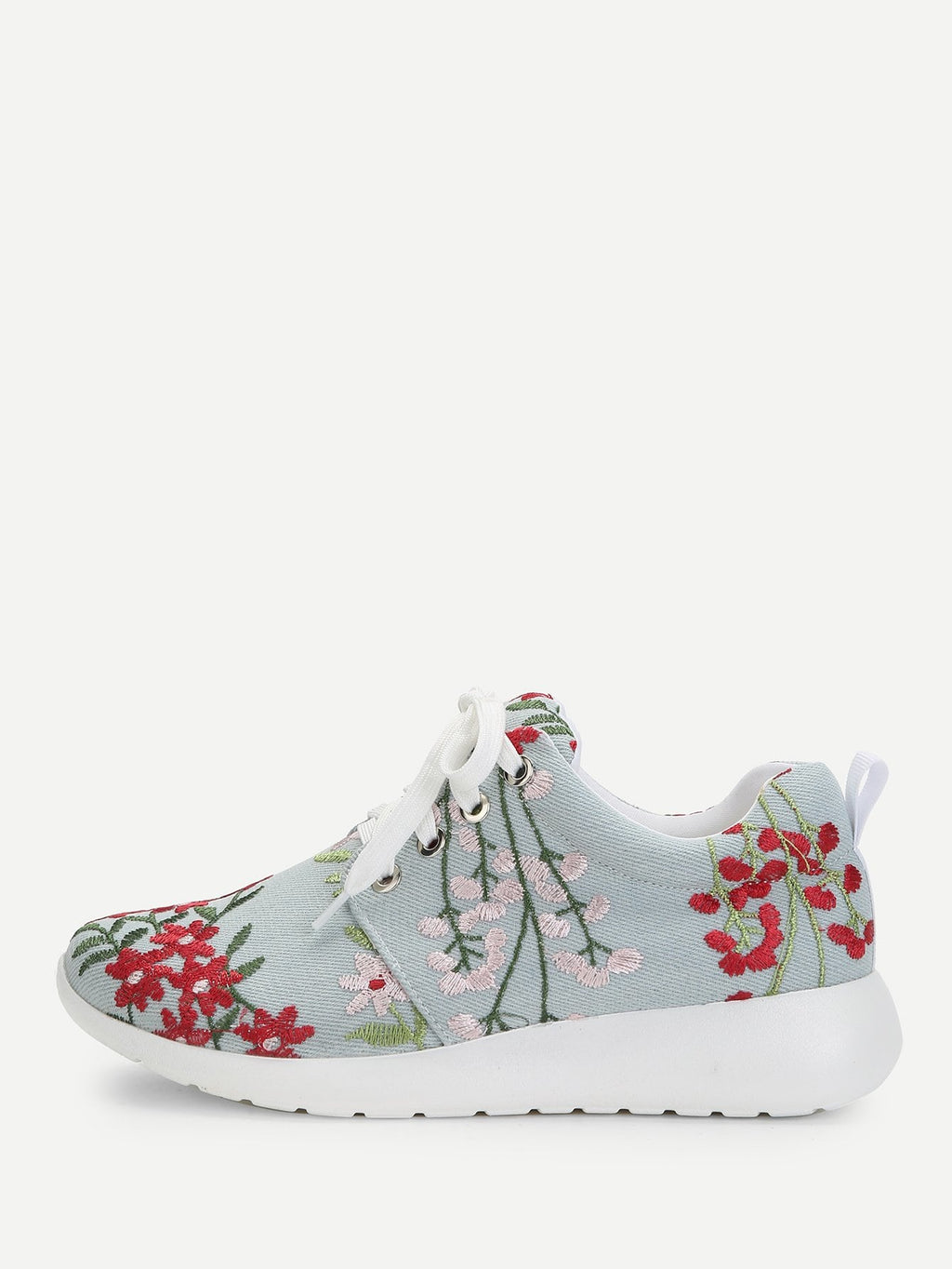 Calico Embroidery Lace Up Sneakers