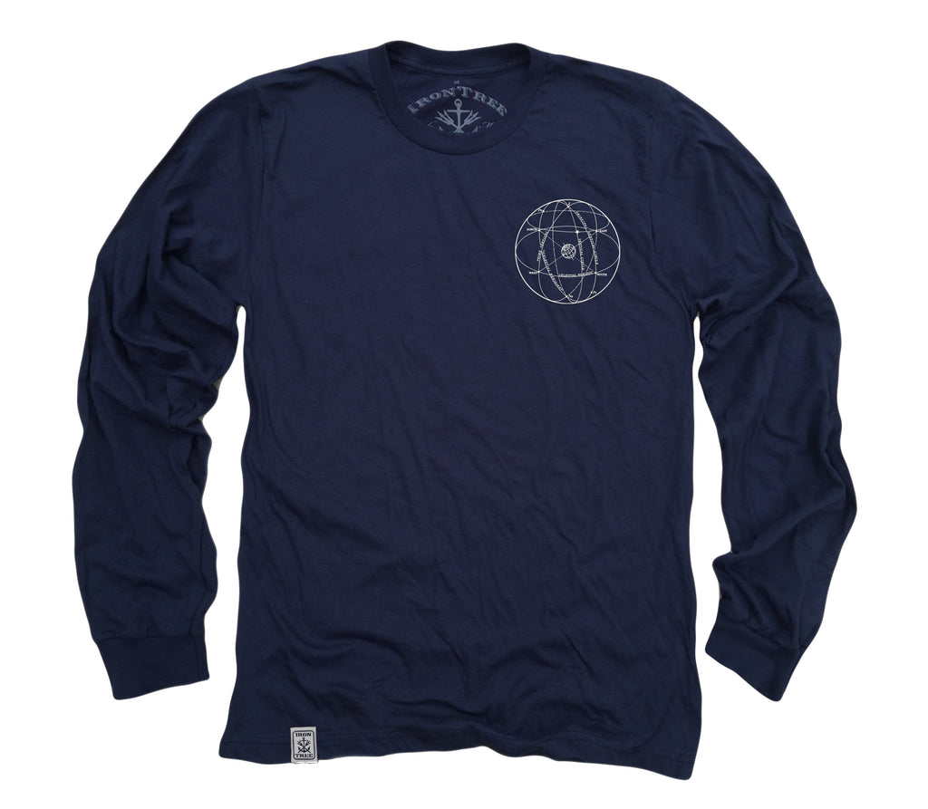 Elements of the Celestial Sphere: Fine Jersey Long Sleeve T-Shirt in Navy
